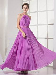 A-line Spaghetti Straps Chiffon Ankle-length Pleats Prom Dresses
