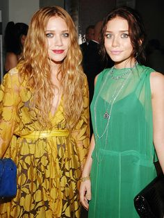 Mary-Kate and Ashley Olsen in yellow and green dresses