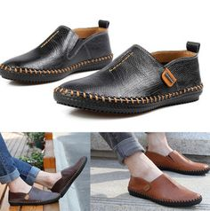 New Men's Comfy Leather Casual Slip On Loafer Shoes Moccasins Driving Shoes E37 #Unbranded #AthleticSneakers