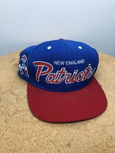 b397aedf852f6 Details about Vintage NFL Mitchell   Ness New England Patriots Blue Gray Snapback  Hat Cap