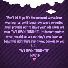 """This song gives me goosebumps. It's the 2013 version of """"Tonight"""".  This song is totally about the fans! ❤️ -Dawn"""