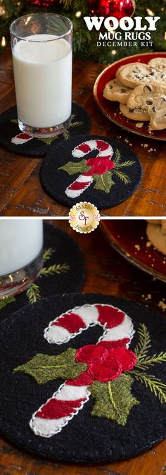 Make this wool appliqué holiday coaster with the kit and free tutorial at Shabby Fabrics. This is the perfect hostess or neighbor gift! Felt Christmas Ornaments, Christmas Time, Christmas Crafts, Christmas Decorations, Ribbon Embroidery Tutorial, Silk Ribbon Embroidery, Hand Embroidery, Embroidery Saree, Embroidery Stitches