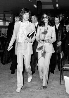 Bianca Jagger was among the first wearers of Yves Saint Laurent's 'Le Smoking' suit [Photo: PA]