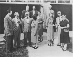 Faculty members gather in 1956 at the San Fernando Valley campus of Los Angeles State College.