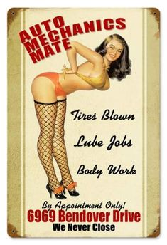 Vintage Auto Mechanics Mate - Pin-Up Girl Metal Sign