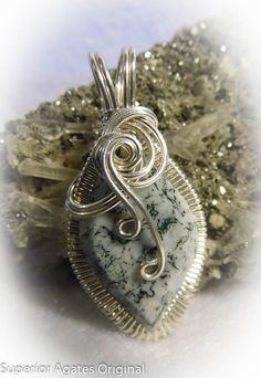 Green Tree Agate Silver Wire Wrapped Pendant by superioragates, $35.00
