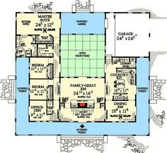 Central Courtyard Dream Home Plan Florida Mediterranean Southwest Spanish Photo Gallery Floor Master Suite CAD Available Courtyard DenOfficeLibraryStudy PDF. U Shaped House Plans, U Shaped Houses, Pool House Plans, Dream House Plans, House Plans With Courtyard, Interior Courtyard House Plans, The Plan, How To Plan, Master Suite