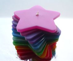 Handmade Rainbow Stacking Candle by Quacraft on Etsy, £9.99