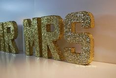Mr and Mrs gold letter signage