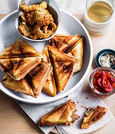 Pork and Ben Jaffles with Pickled Jalapeños and spiced scratchings - Gourmet Traveller