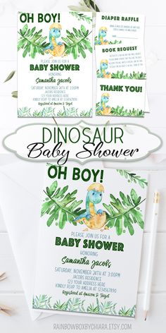 Dinosaur Baby Shower Invitation Oh Boy Baby Greenery Baby Shower Dinosaur Baby Shower Theme Diaper Raffle Book Request Thank you Card BSL 57 ? Printing your own invitations has never been easier! Baby Shower Niño, Unique Baby Shower, Boy Baby Shower Themes, Baby Shower Invitations For Boys, Baby Shower Printables, Juegos Baby, Baby Shower Invitaciones, Diaper Raffle, Babyshower