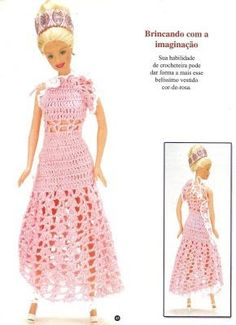 Pink dress with diagram ♥LCD♥ Vestidos para barbie