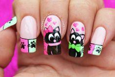 decoracion-unas-gatos-1-1 Cat Nail Art, Animal Nail Art, Cat Nails, Animal Nail Designs, Nail Polish Designs, Cute Nail Designs, Love Nails, Pretty Nails, Gold Glitter Nails