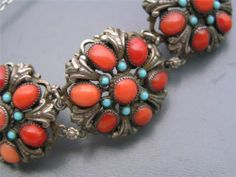 Wide Antique Austro Hungarian Silver Ox Blood Coral Cluster Bracelet | eBay/$1000