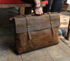 "Image of Handmade Leather Briefcase / Leather Messenger Bag / 13"" 15"" MacBook 13"" 14"" Laptop Bag S21-1"