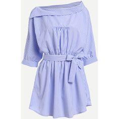 Self-Tie Fold Collar Vertical Striped Dress - Blue