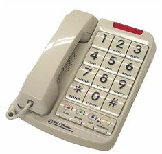 "Northwestern Bell Big-Button Corded Phone Plus with 13-Number Memory (20200-1) by Northwestern Bell. $20.55. 20200 NWB Big Button W/Braille- Big button corded telephone- 13 Number memory (3 one-touch emergency)- Braille augmented keypad- 90dB adjustable ringer- Speakerphone- Large raised buttons- Last number redial- Flash/hold- Visual ring indication- Tone/pulse dialing- Handset volume control- Wall mountable-Hearing aid compatible- White- Button size:1.25"" x 1.25"""