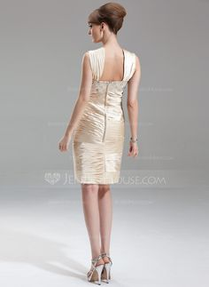 Sheath/Column Sweetheart Knee-Length Ruffle Beading Zipper Up Cap Straps Sleeveless No Champagne Spring Summer General Plus Charmeuse Mother of the Bride Dress