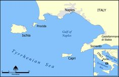 """""""Red Sails to Capri"""" -- Map showing the location of Capri."""
