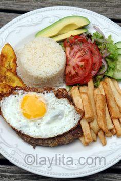 Ecuadorian churrasco or steak with egg platter