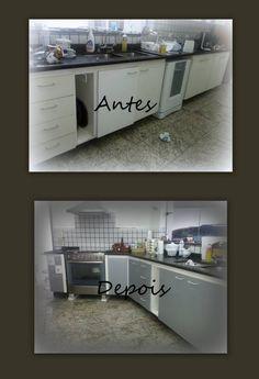 Antes e depois de projeto de adesivar cozinha: como mudar seus armários rapidamente utilizando adesivo vinílico, projeto que pode ser feito em um final de semana, Confira todas as dicas de Flávia Ferrari no DECORACASAS