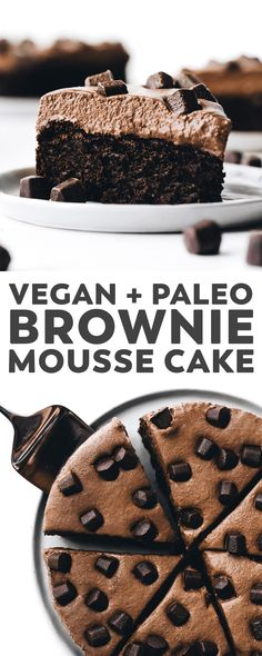 Decadent flourless fudgy brownie on the bottom with fluffy … Brownie Mousse Cake! Decadent flourless fudgy brownie on the bottom with fluffy two-ingredient chocolate mousse on top – vegan and paleo! Paleo Dessert, Paleo Food, Paleo Fruit, Paleo Cake Recipes, Vegan Recipes, Blueberry Recipes, Dessert Food, Diet Recipes, Vegan Sweets