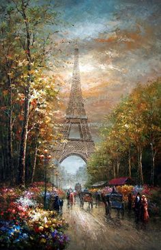 print page - Classical landscape painting 35 Eiffel Tower paint