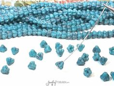 Turquoise Luster Bellflower Beads, Luster Opaque Turquoise Czech Glass Baby Bellflower Bead Cap, 4x6mm Flower, Lot Size 50 Beads, #4001