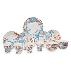109.00-The Coastal Life Grenada 16-Piece Dinnerware Set will give your table a refined grace. Features a colorful pattern of classic sea creatures.