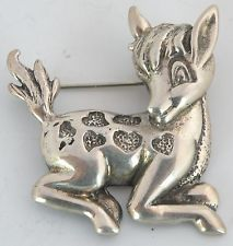 Large Figurative baby Deer Sterling Silver pin brooch Mexico Taxco signed unique