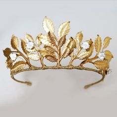 gold leaf bridal crown from www.nancyandflo.com