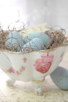 vintage teacups, bowl, nest, robin egg blue, easter decor, garden quotes, easter eggs, baby blues, china