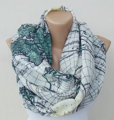 Map Scarf World Map Scarf Shawl Soft Cotton Scarf by Scarfandstyle, $18.90 --- I need somebody to just buy me scarves. That's it, just a scarf supplier.