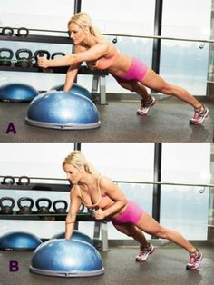 The Secret to a Killer Core 7 Dynamic Core Exercise Moves #core #abs #fitness Side Lunge with Lateral Raise Bosu Squat Jump and Hold Single-Leg Shoulder Press with Leg Extension Bosu Single-Arm Chest Press with Leg Lift Double Bosu Incline Pushup S