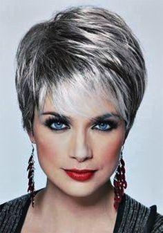 Image result for short hair styles for women over 50 gray hair