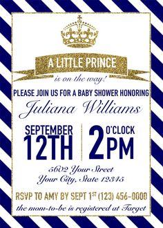 Little Prince Baby Shower Invitation by HarrisCompany on Etsy