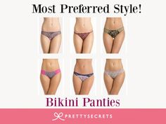 Cool, Comfy & Colorful- Bikini panties are just perfect for everyday! Check out the entire range of bikini panties at  http://prettysecrets.com/lingerie/panties/bikini