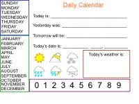 Smartboard Daily Calendar: Use this notebook to keep track of the day, month and year, as well as the weather.
