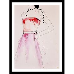 Stylist's Tip: Group this chic fashion drawing with a stack of designer magazines and pastel-hued pillows for a glamorous statement in your parlor or living ...