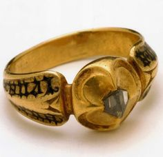 Wedding Ring with names. Northern Italy, 15th Century. Gold Set with Faceted Diamond.