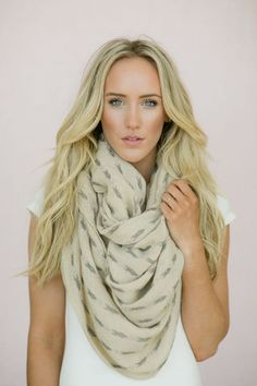 Indian Woven Infinity Scarf Arrow Vane Bohemian Neck Warmer Loop Scarf Dart Pattern Wide Full Cut in Taupe and Soft Gray (SCF-TSG)