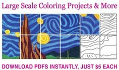 Murals artsy-kids-class-projects-for-school-auction, reprints can be made large scale thru office depot, nice idea and affordable!