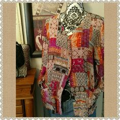 Pretty Multi Color Shirt Jacket! Super Adorable all year round! Double pocket front, can be worn as a light jacket or buttoned up fully as a cute double pocket shirt will match anything and everything mix this one up girls its fun! Like new islanders Tops Button Down Shirts