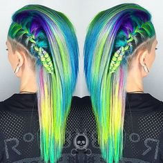 Neon rainbow hair color with wicked side braid by Rickey Zito hotonbeauty.com