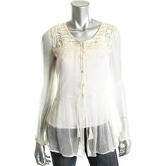 FREE PEOPLE Womens Chiffon Embroidered Blouse