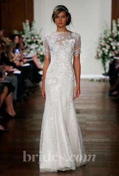 Jenny Packham Fall 2013 lace beading with see through sleeves