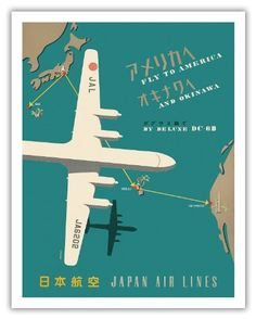 Japan Airlines, Fly Route Map America to Japan - Travel Poster