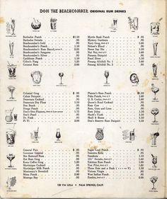 Don the Beachcomber Pam Springs cocktail menu, 1960s