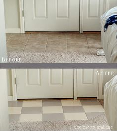 The Moon and Me: Painting a Tile Floor ~ Tips and Grumbles http://kellysmoonlight.blogspot.com/2013/08/painting-tile-floor-tips-and-grumbles.html