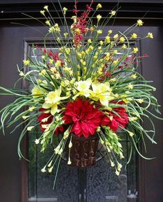 Summer Door Wreath Wall Floral Arrangement Grassy Flower Arrangement Red And Yellow Everlasting Sunshine This listing includes Express Mail Beautiful Flower Arrangements, Floral Arrangements, Beautiful Flowers, Wreath Crafts, Diy Wreath, Wreath Ideas, Summer Door Wreaths, Spring Wreaths, Summer Door Decorations